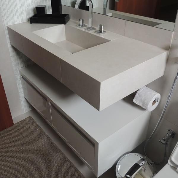 Pia de porcelanato para banheiro branca