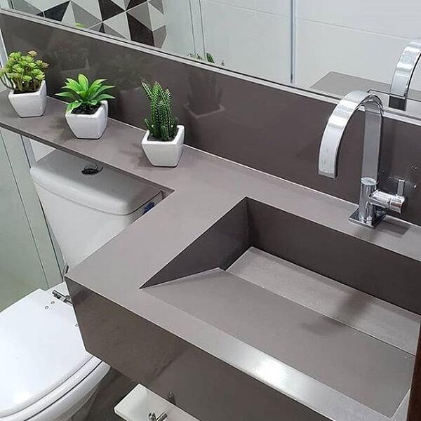 Pia de porcelanato para banheiro cinza