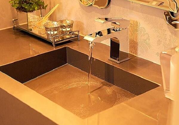 Pia de porcelanato para banheiro com cuba esculpida é um produto sofisticado