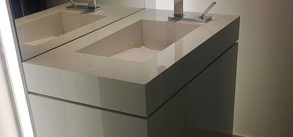 Pia de porcelanato para banheiro retangular