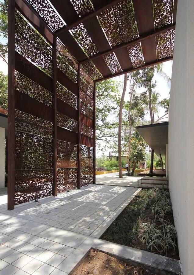 chapa de aço corten com recortes para decoração de área externa Foto Topidee