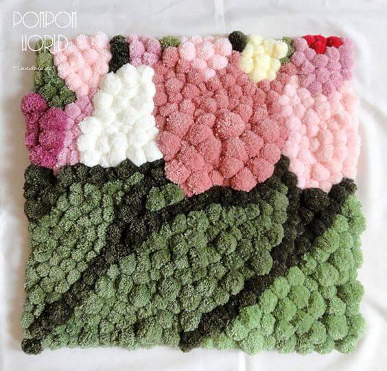 como fazer tapete de pompom flores delicadas
