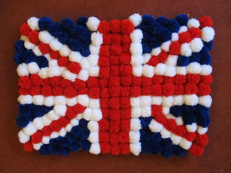 Como fazer tapete de pompom com a bandeira do Reino Unido