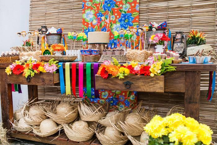 decoração de festa junina floral