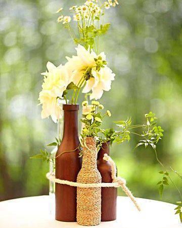 decoração festa junina garrafas em bronze
