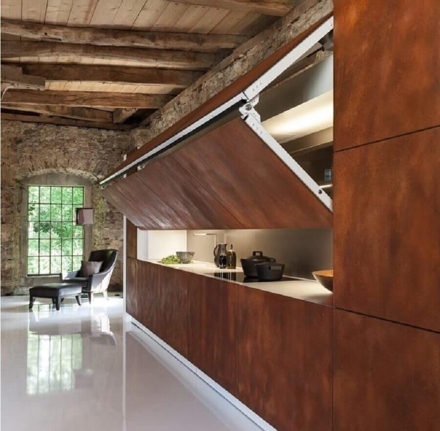 decoração para casa moderna com revestimento aço corten  Foto Pinterest