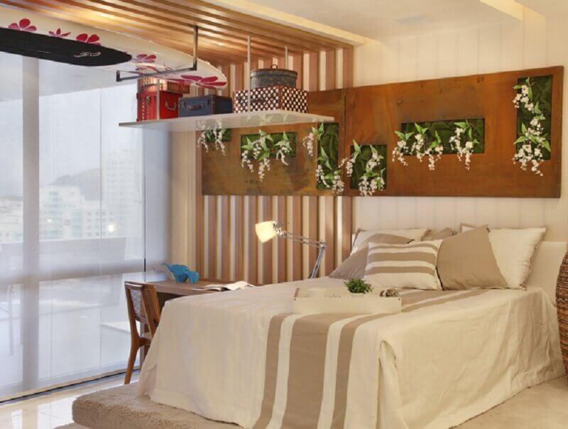 decoração para quarto de casal com aço corten  Foto Projetos Habitissimo
