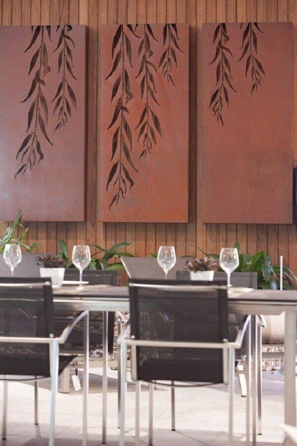decoração para sala de jantar com aço corten  Foto ARQ DZN Arquitetura & Interiores