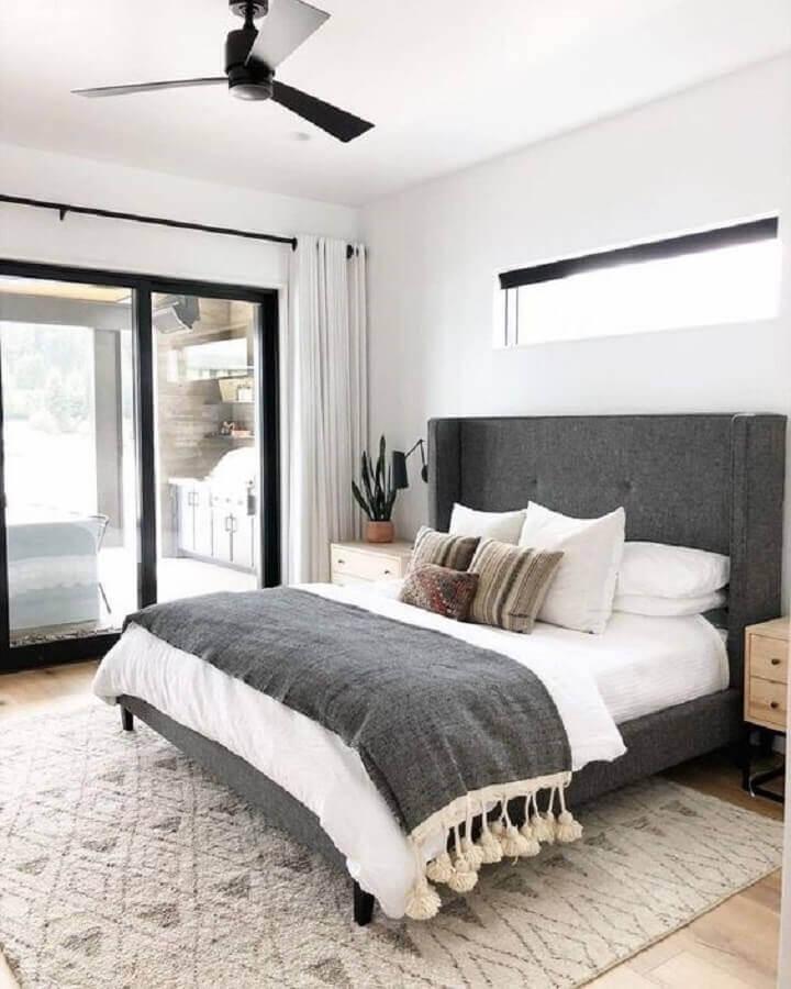 dicas de decoração de quarto cinza e branco Foto Pinterest