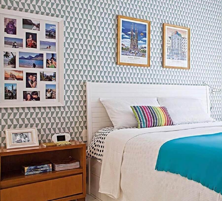 dicas de decoração de quarto com papel de parede e mural de fotos Foto Pinterest