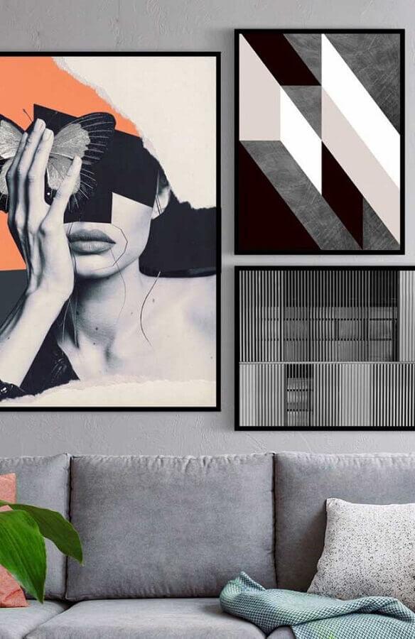 dicas de decoração para casa moderna com quadros grandes Foto Pinterest