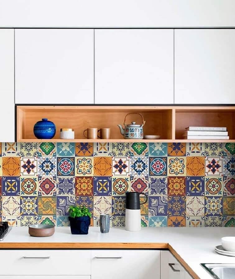 dicas de decoração para cozinha com ladrilho hidráulico Foto Pinterest