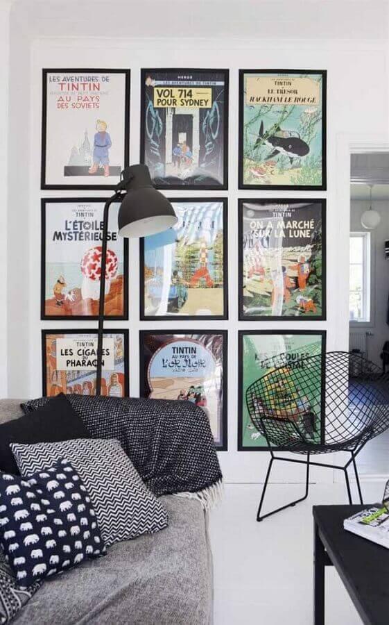 dicas de decoração para parede com vários quadros Foto Pinterest