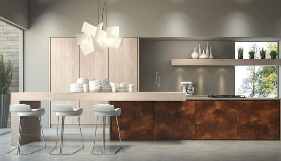 porcelanato aço corten para cozinha moderna  Foto Tintas Renner