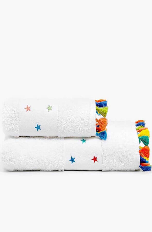 toalha de banho bordada com estampa de estrelas coloridas Foto Etsy