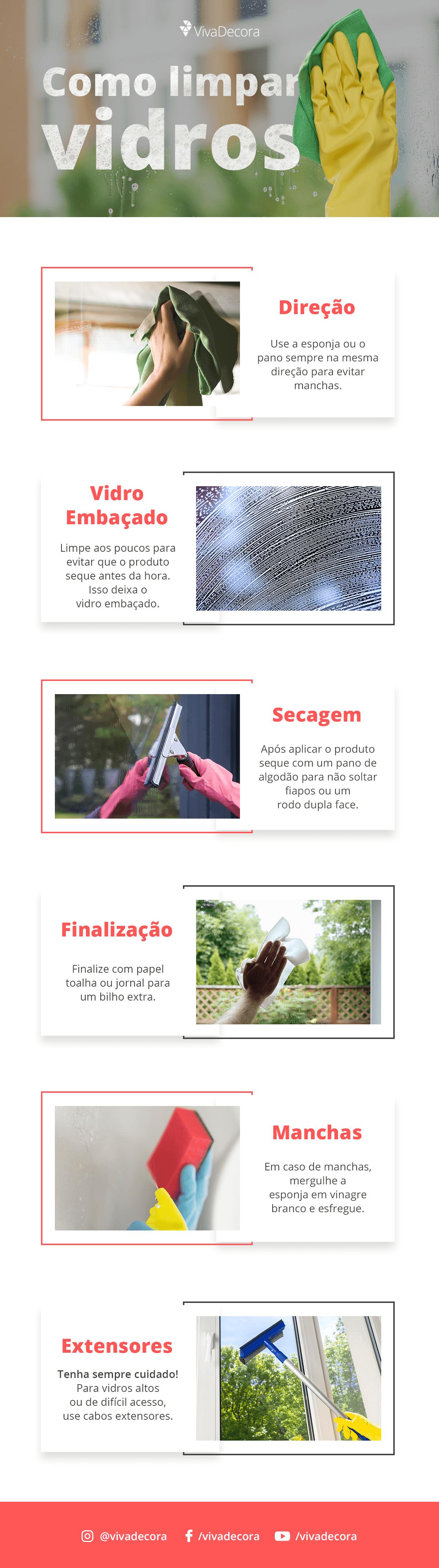 Infográfico - Como limpar vidros