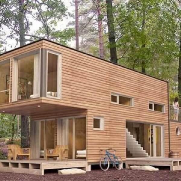 Casa container de madeira ecológica