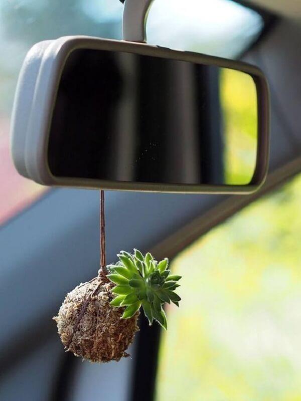 Kokedama pendurado no espelho do carro