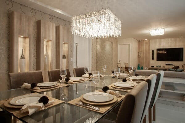 o lustre para sala de jantar combina perfeitamente com a decoração