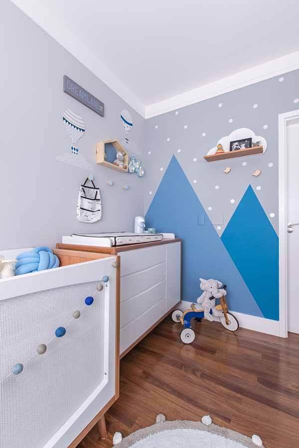 Quarto infantil planejado azul e cinza