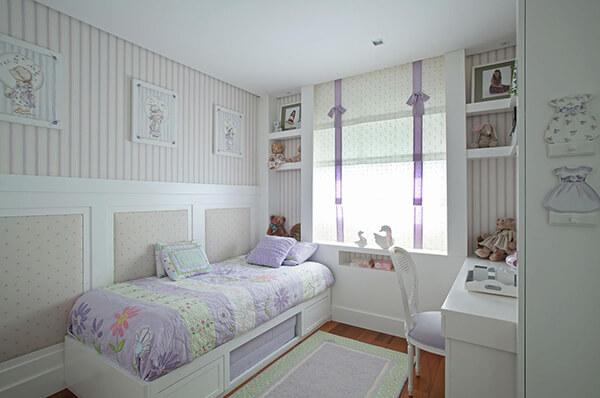Quarto infantil planejado de apartamento na cor lilás