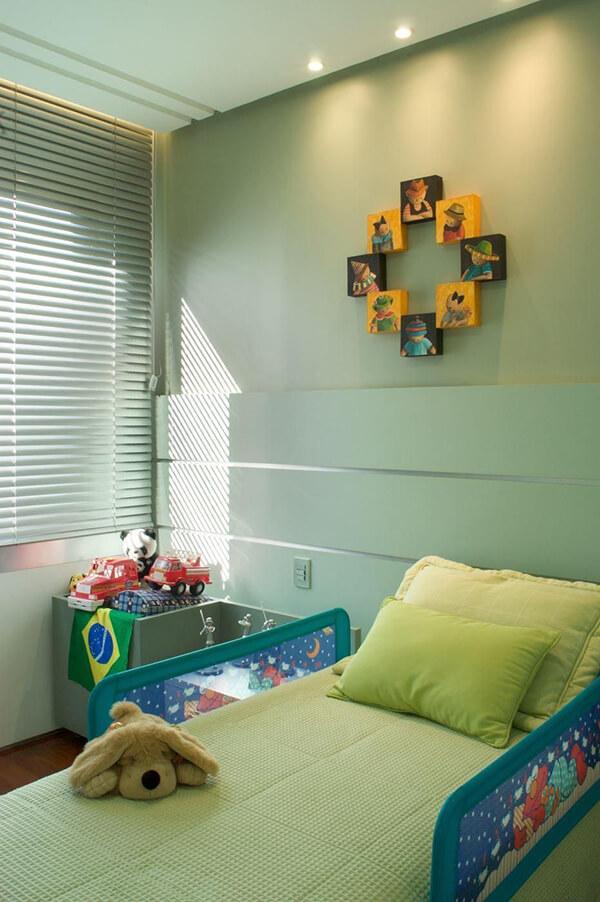 Quarto infantil planejado para apartamento na cor verde