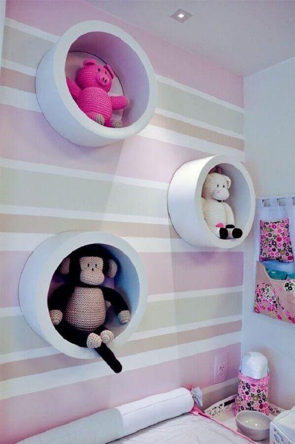decoração com nicho redondo para quarto de bebê Foto ADcorista