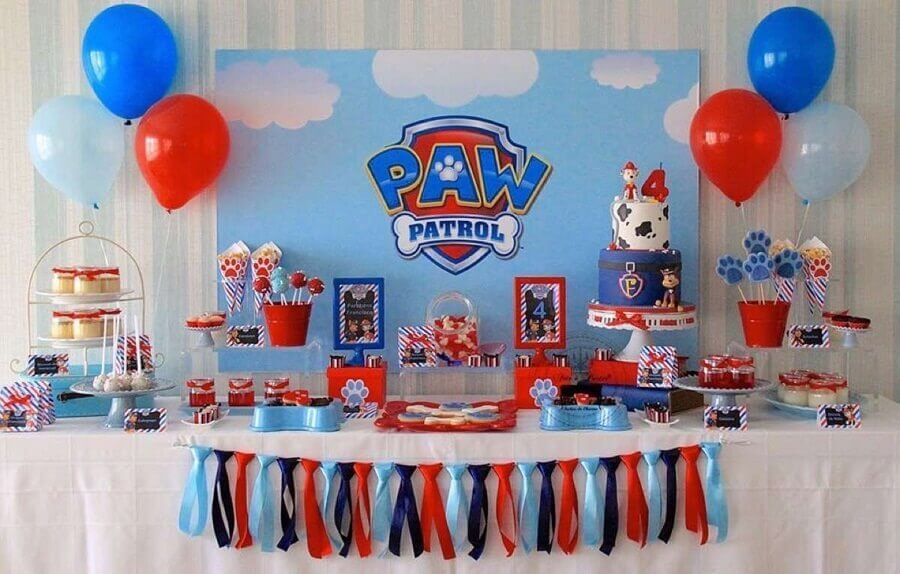 decoração de festa infantil com tema patrulha canina Foto Pinterest
