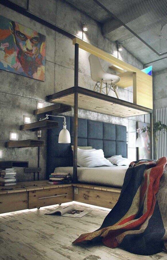 decoração industrial para quarto com mezanino escritório Foto Neu dekoration stile