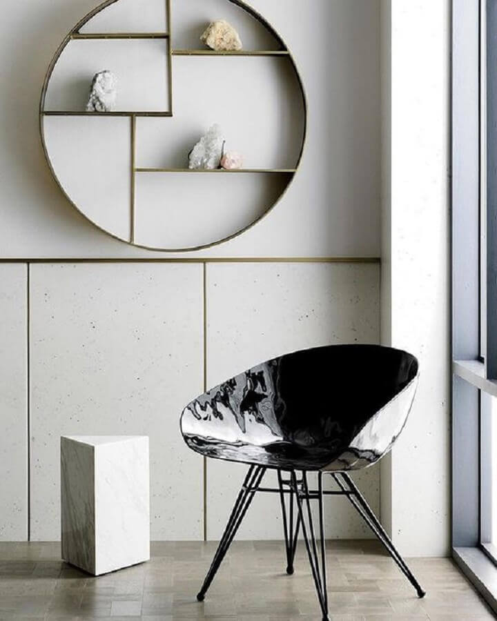 decoração minimalista com nicho redondo Foto Pinosy