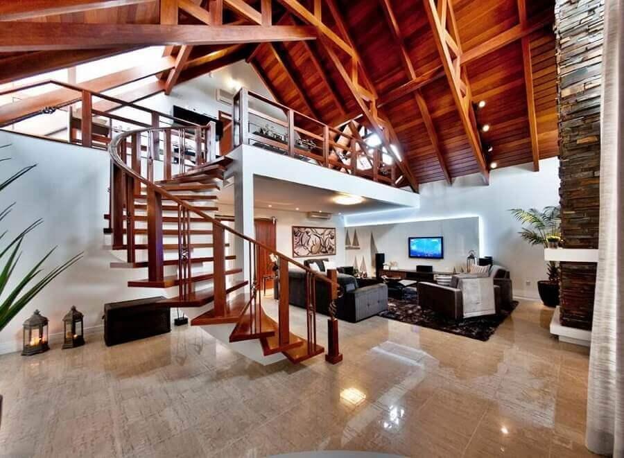 decoração para casa rústica com mezanino Foto Archdesign Studio