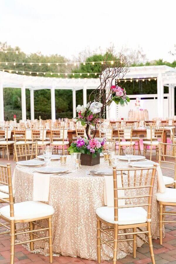 decoração para mesa de convidados de bodas de pérola  Foto Why Santa Claus