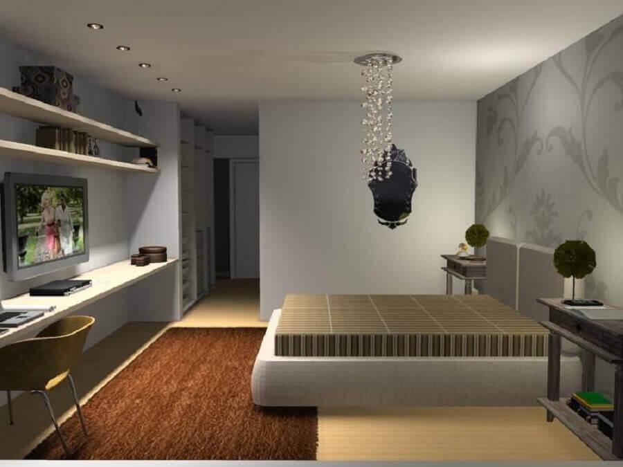 decoração quarto de casal lustre de cristal