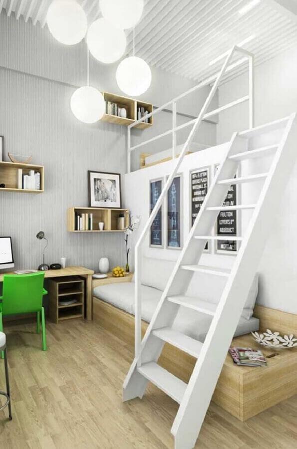 decoração quarto de solteiro com mezanino Foto Pinterest