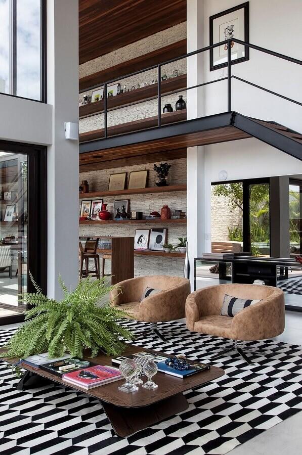 decoração sofisticada para casa ampla com mezanino Foto SQ+ Arquitetos Associados