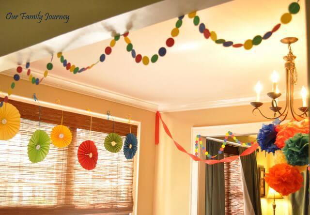 decoracao de festa infantil com papeis em casa