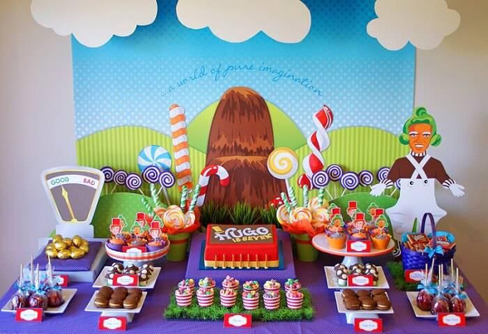 decoracao de festa infantil fabrica de chocolate