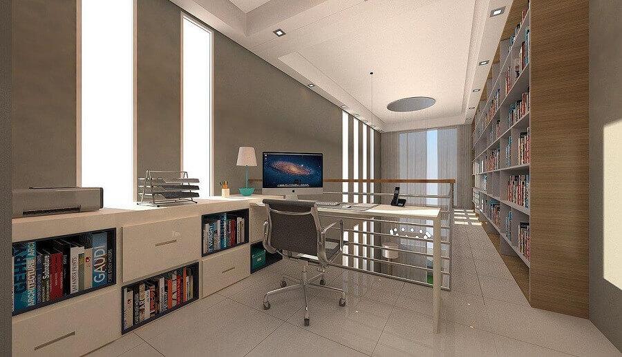 escritório moderno em mezanino Foto Bianca Navarro Tozette