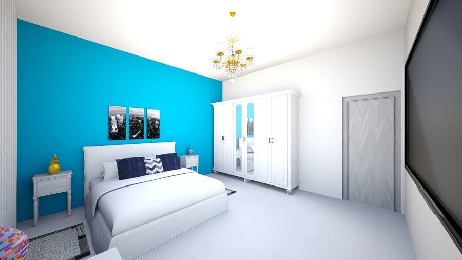lustre para quarto de casal azul e branco