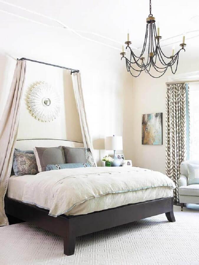 modelo clássico de lustres para quarto com decoração clean