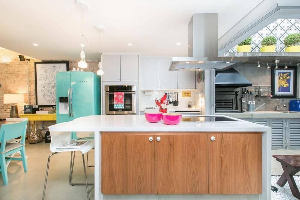 moveis planejados cozinha com bancada e turquesa dt estudio 8654
