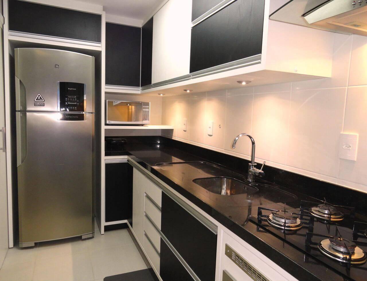 moveis planejados cozinha pequena branca e preta frente e verso arquitetura 30283