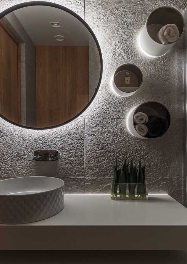 nicho redondo com led para decoração de banheiro Foto Archilovers