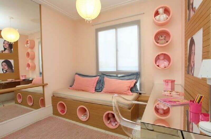 nichos redondos para decoração de quarto infantil todo rosa Foto Pinterest