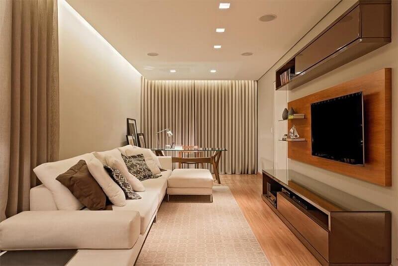Painel para sala amadeirada Projeto de LEDS Arquitetura