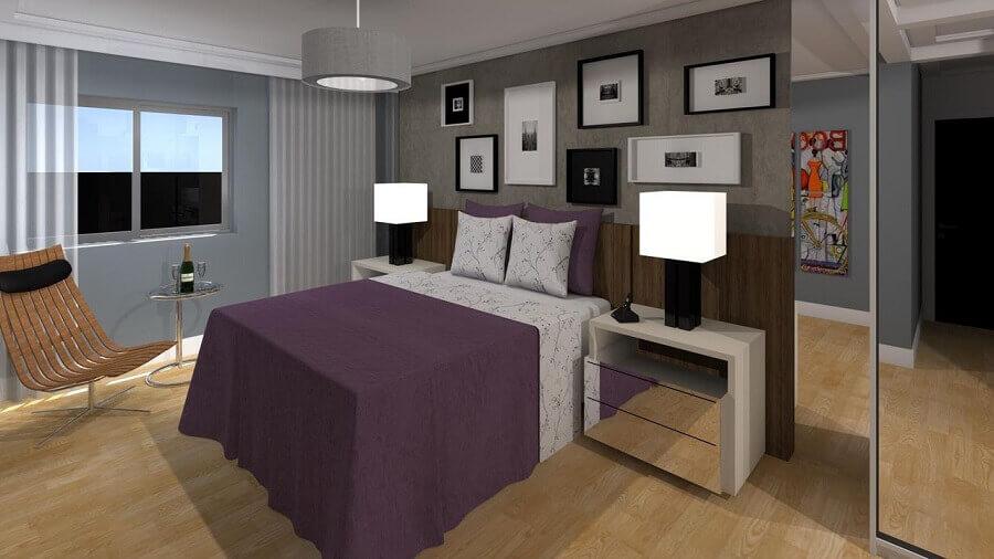 projeto com lustres para quarto de casal decorado
