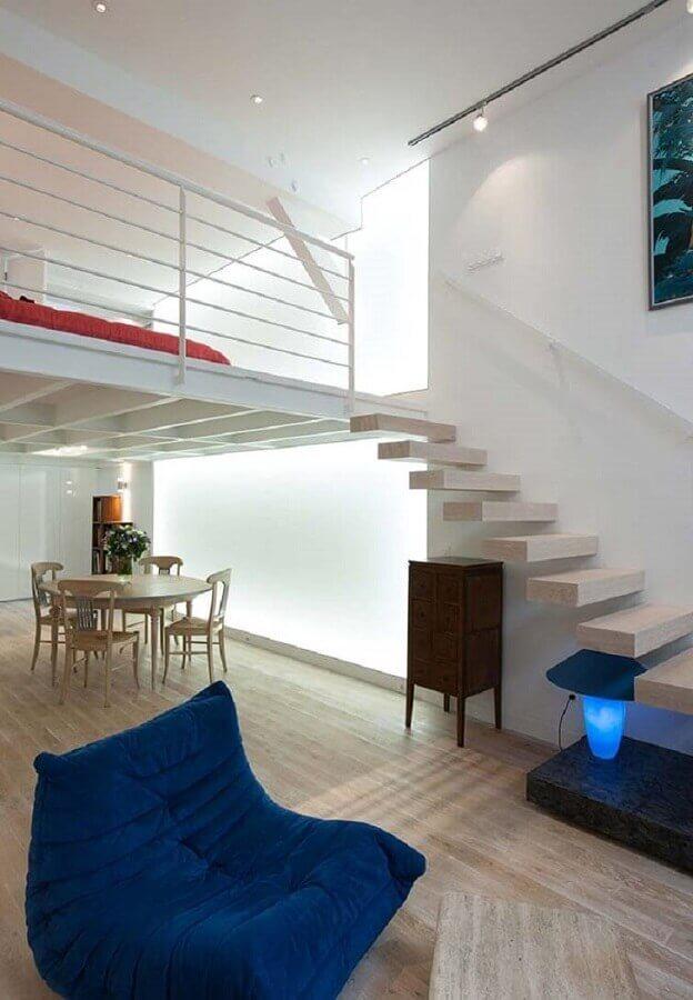 sala ampla com mezanino Foto Ideias Decor