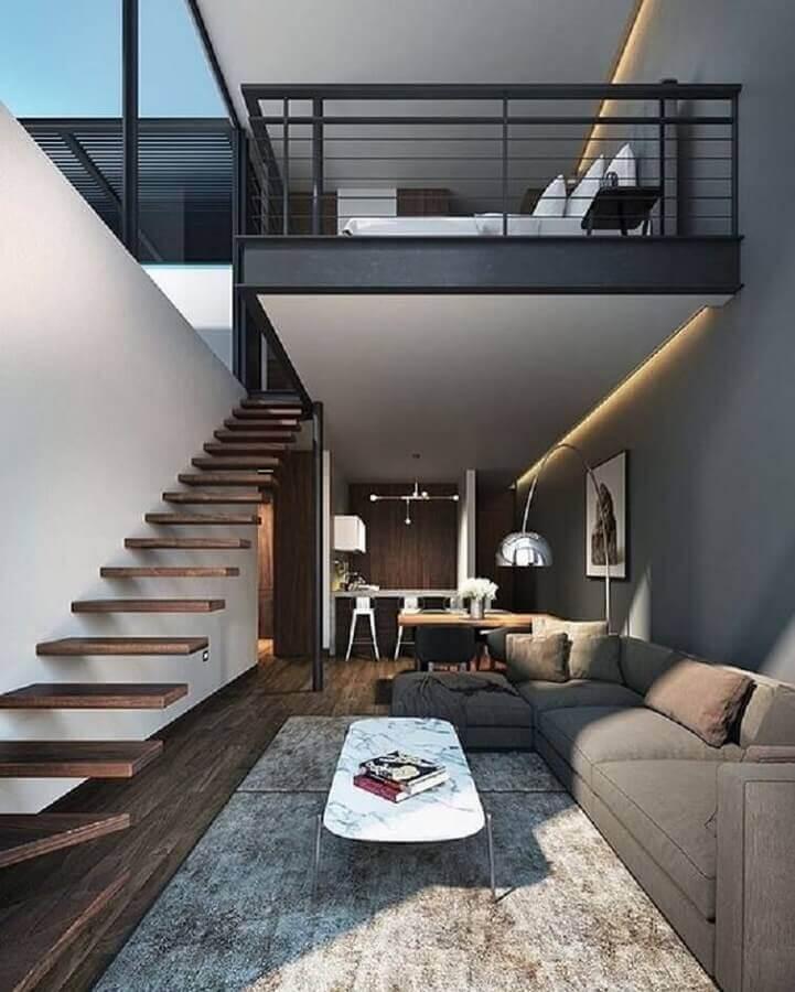 sala moderna com mezanino Foto Flisol Home