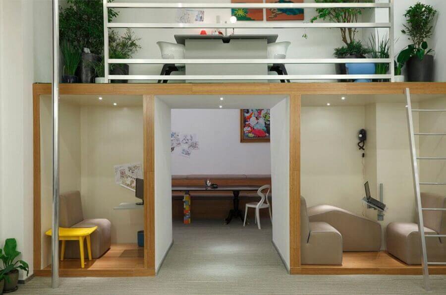 studio decorado com mezanino Foto Casa de Valentina
