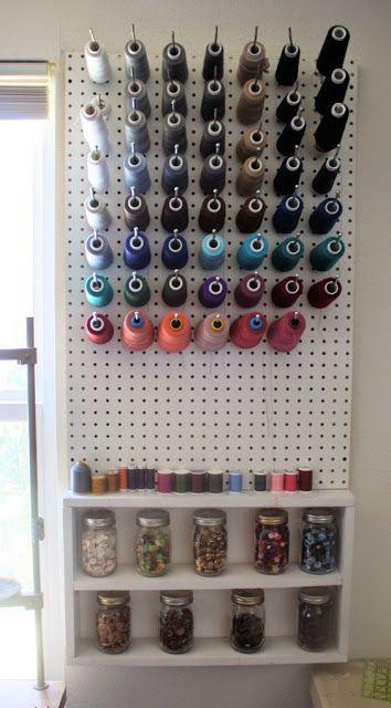 atelier de costura - painel de linhas com prateleiras